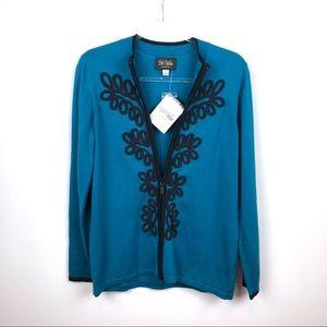 Bob Mackie Blue & Black Zip Up Sweater Small NWT S